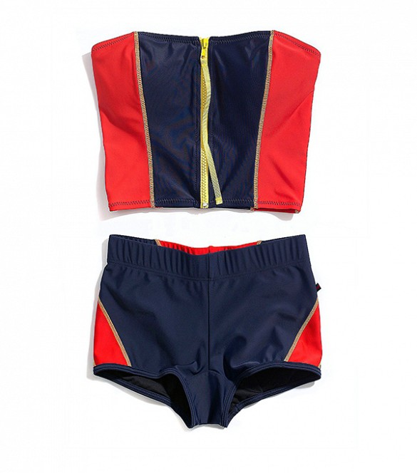 Tommy Hilfiger Zipper Front Bandini ($68) and Surf Short ($56) in Core Navy