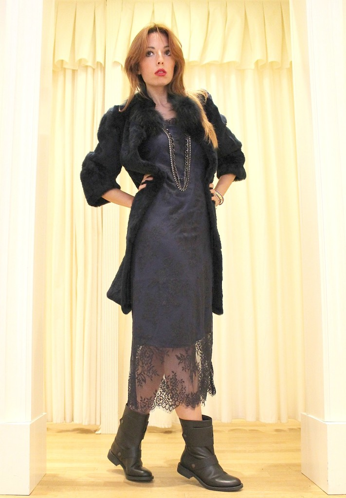Blue dress, lace dress,biker boots,  navy fur, twin set simona barbieri, long necklace chanel, elisa bellino, theladycracy, your twin set style,  twin set contest, best fashion blogger, fashion blogger milano, fashion trend , nwe f w collection 2014/2015, new trends