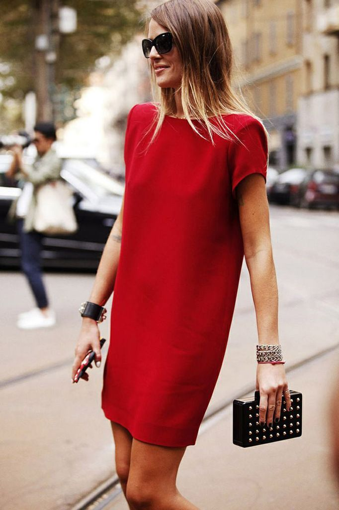 stunning red shift dress outfit