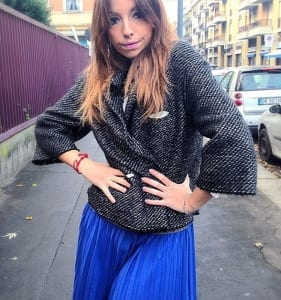 elisa bellino, manila grace outfit, blue look, blue skirt, gipsy look, tweed, winter outfit, blog milano, theladycracy.it