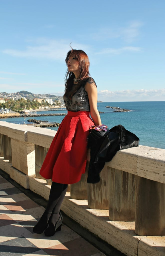 ELISA BELLINO www.theladycracy.it 6,ELISA BELLINO www.theladycracy.it 2, red skirt choies, fur compagnia italiana, top intimissimi, shoes stradivarius, bag dun dun paula cademartori,fashion editorial