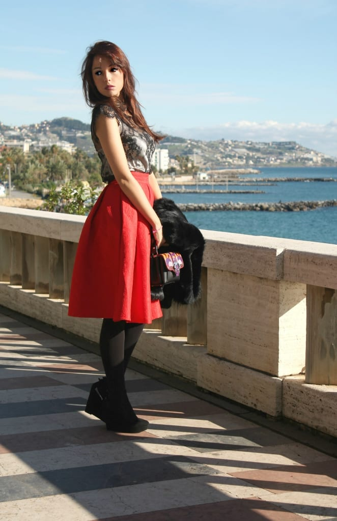 ELISA BELLINO www.theladycracy.it,ELISA BELLINO www.theladycracy.it 2, red skirt choies, fur compagnia italiana, top intimissimi, shoes stradivarius, bag dun dun paula cademartori,fashion editorial
