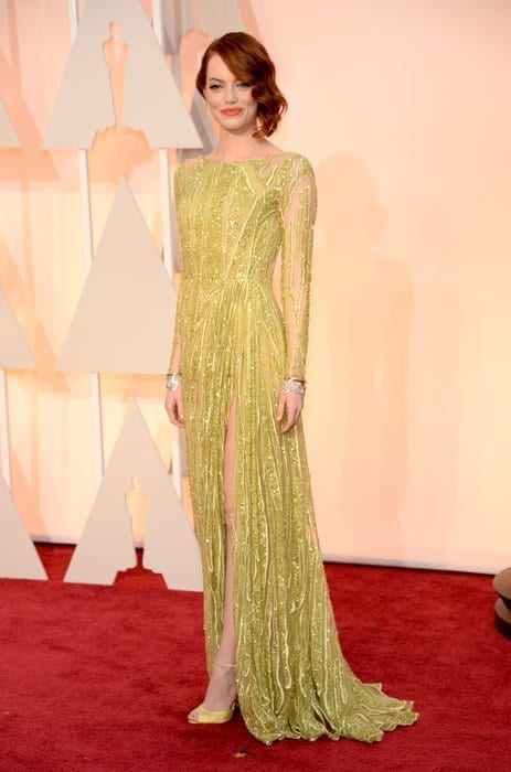 emmastone-oscar2015, elie saab,theladycracy.it , vestiti da red carpet, the worst dressed , celebrity style, oscar 2015 dresses,
