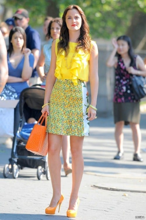 Blair Waldorf, yellow look, come abbinare il giallo, camicia gialla, yellow pumps, theladycracy.it