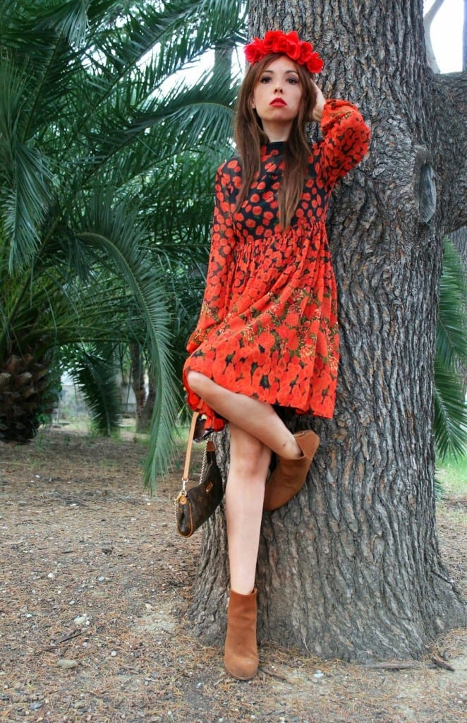 boho dress, fashion editorial fashion blogger, asos dress, red dress, louis vuitton pochette