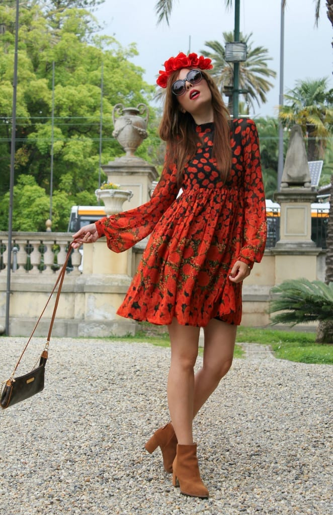 boho dress, fashion editorial fashion blogger, asos dress, red dress, louis vuitton pochette