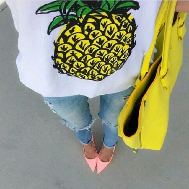 yellow bag,come abbinare il giallo, yellow pineapple
