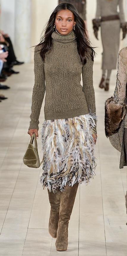 tendenze moda inverno 2016, ralph lauren fall 2015, fashion blog italia, feathers trend, gonna piume