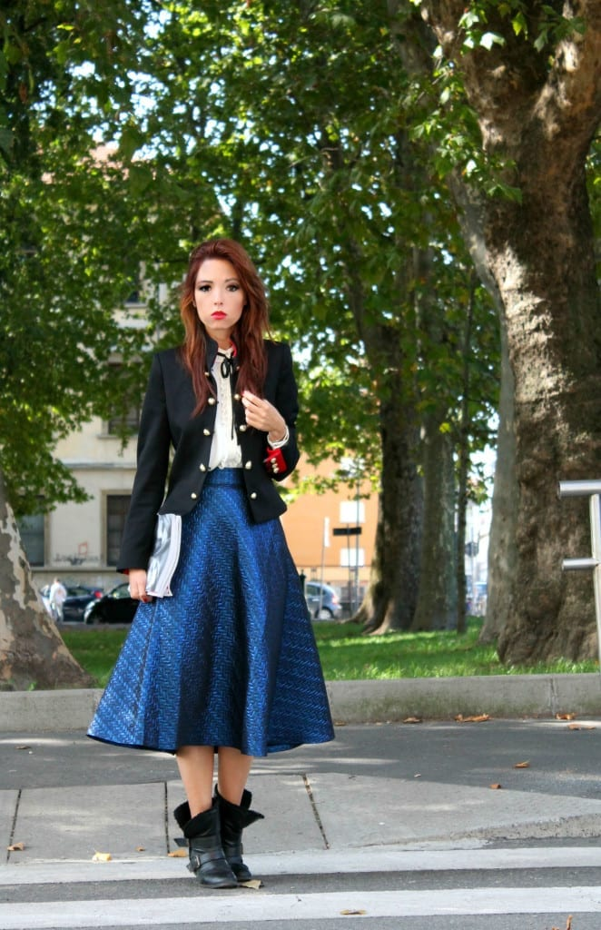 giacca marsina stile chanel, theladycracy.it, facebook fenomeno, outfit army, blazer chanel, outfit fashion blogger, blazer marsina