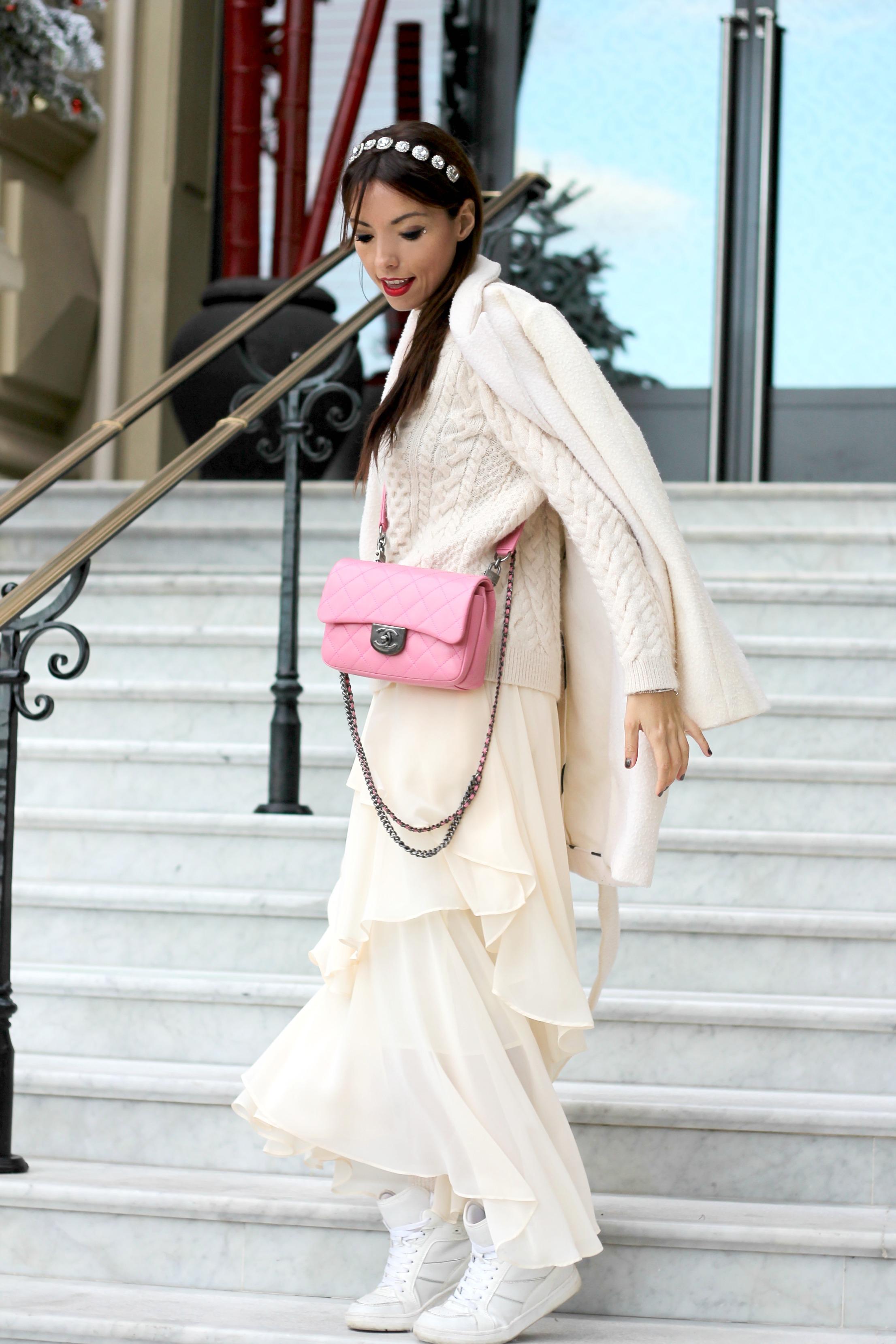 elisa bellino, chanel bag pink, theladycracy.it, fashion blogger italiane famose, fashion blog italia, tall white outfit,prospettive lavoro futuro, total white look, zarina outfit, chanel rosa borsa,