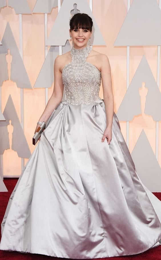 Felicity Jones in Alexander McQueen at the Academy Awards 2015