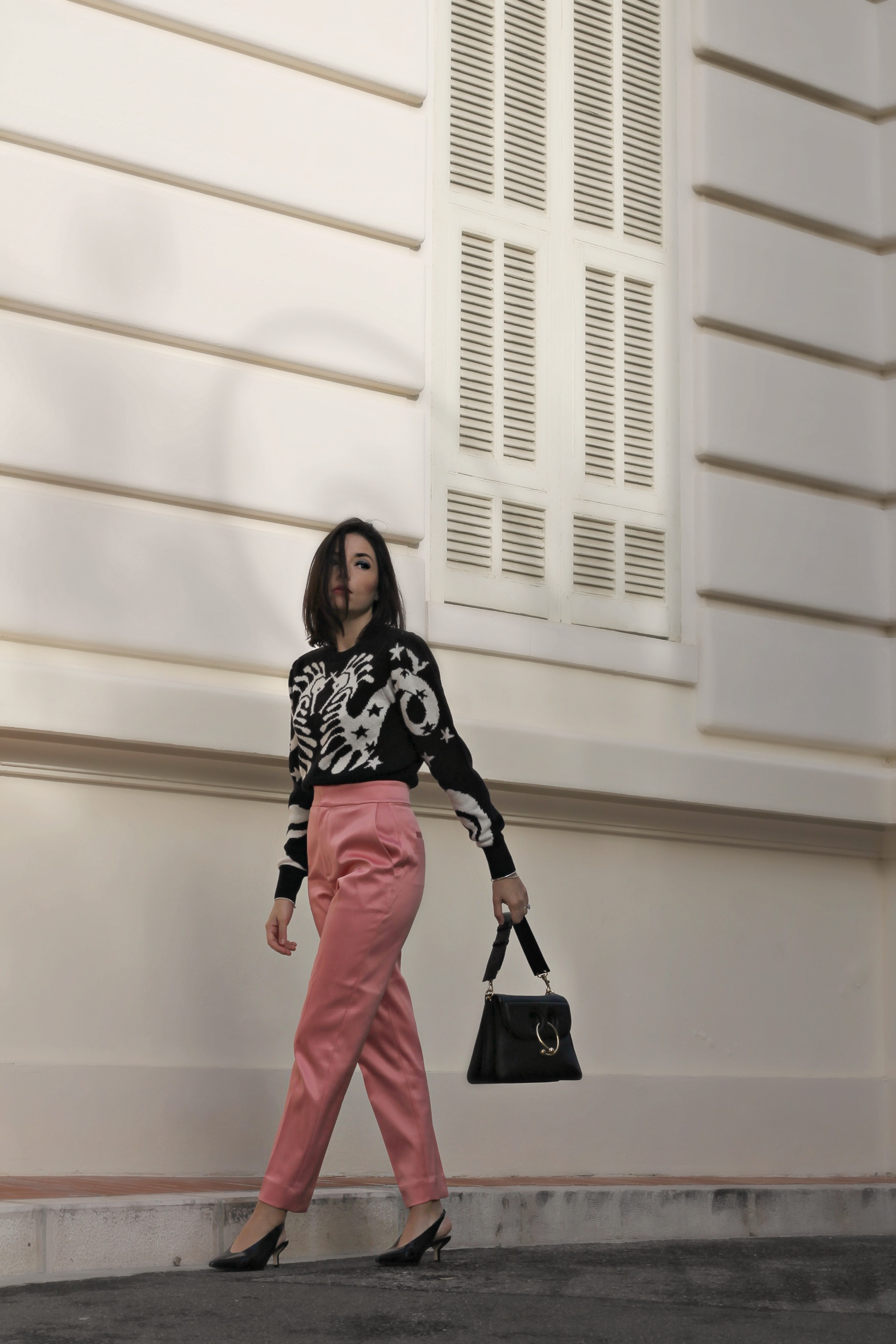 la moda di oggi, theladycracy.it, elisa bellino, fashion blog 2018, fashion blogger famose 2018, fashion blogger più seguite 2018, blogger moda 2018, blogger instagram 2018, jw anderson pierce bag, maglione otherstories, look casual chic 2018, come vestirsi bene 2018, cosa mi metto domani 2018, pantaloni rosa abbinare, mules zara